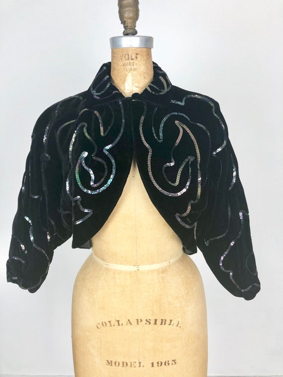 AMAZING 1950s Sequined Velvet Bolero Jacket S