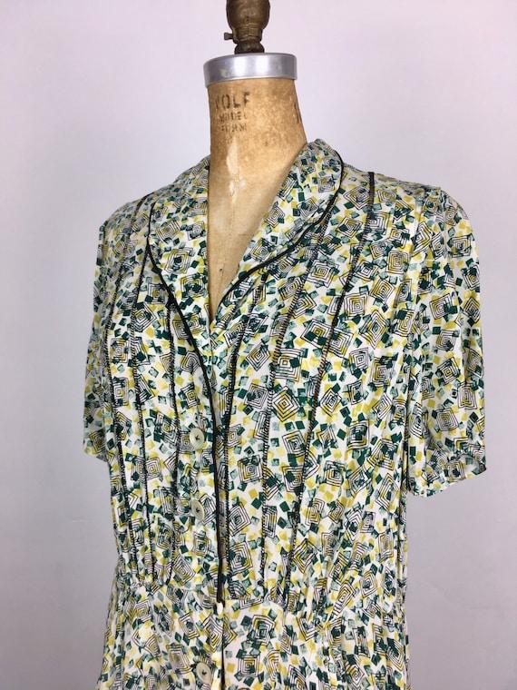 Sweet 1940s Novelty Print Rayon Dress M
