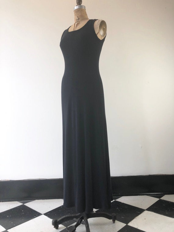 1990s Black Knit Ribbed Cotton Maxi Dress S