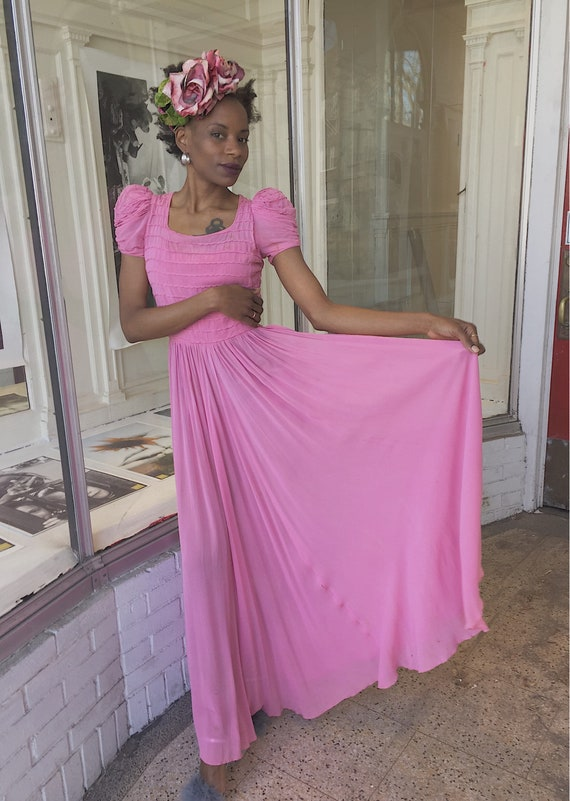 30's/40's Bubblegum Pink Silk Chiffon Maxi Dress.