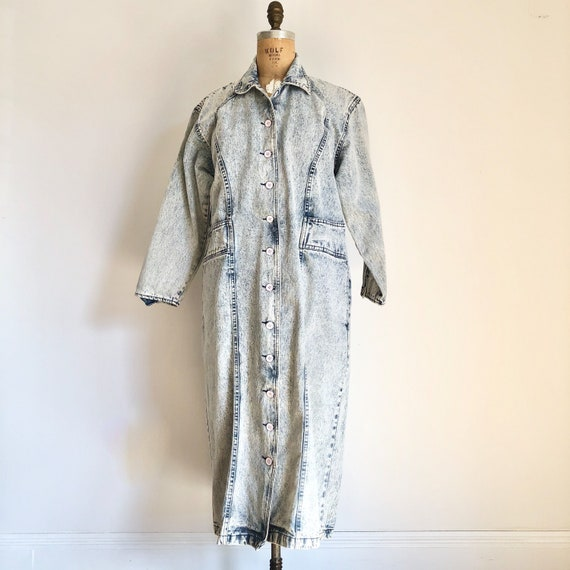 1980s Acid Wash Denim Duster M