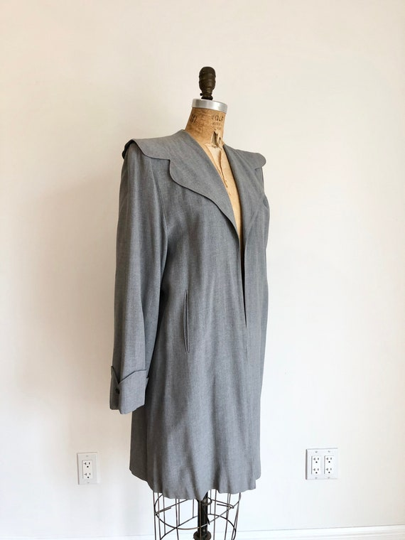 1940s Grey Wool Gabardine Swing Coat S M