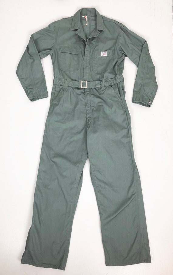 1950's Hercules Grey Cotton Twill Belted Coveralls