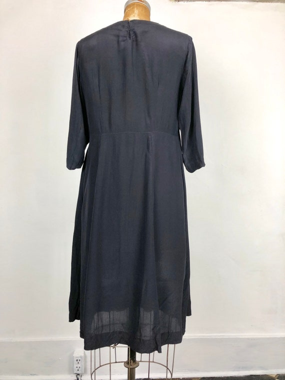 1930s Navy Silk Floral Embroidered Peasant Dress S - image 6