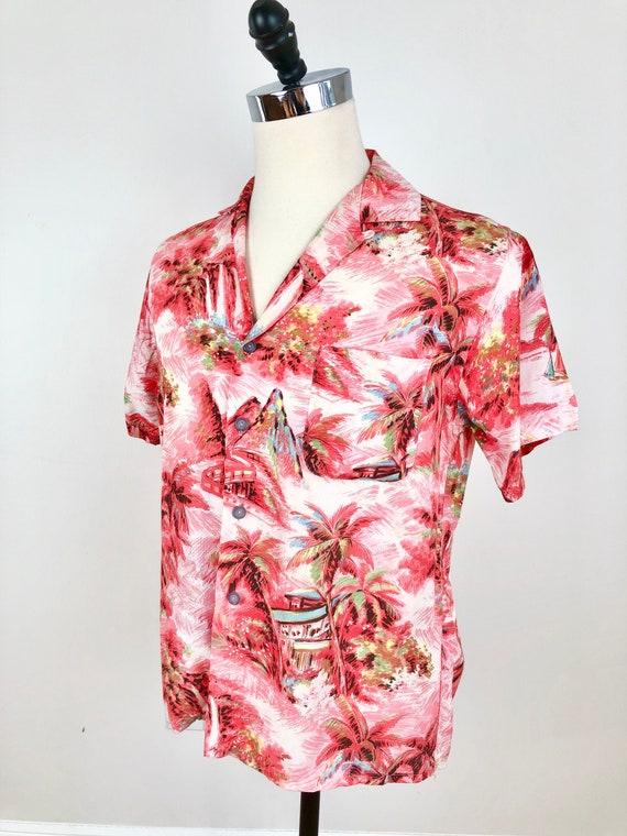 1960s Pink Rayon Hawaiian Aloha Shirt M