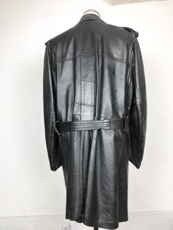 70s Black Leather Belted Trench Coat XL - image 6