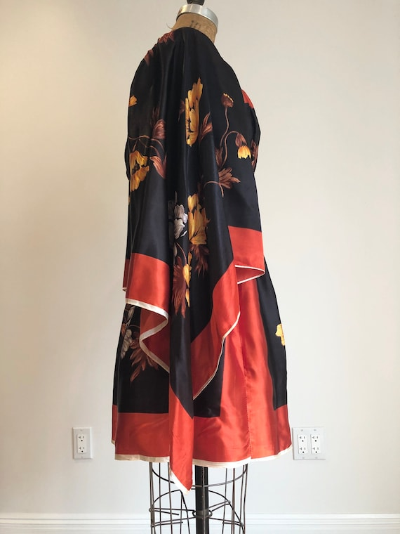 1960s Rayon Floral Scarf Mini Dress S - image 9