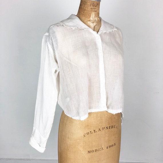 Beautiful Victorian Striped White Cotton Voile Blo