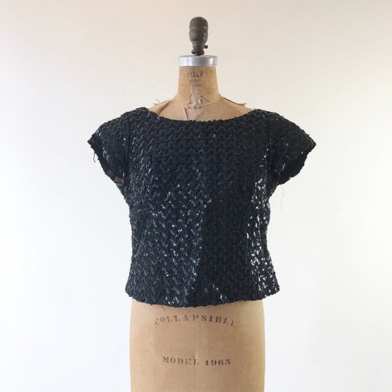 FABULOUS 1950's Black Sequined Knit Top M