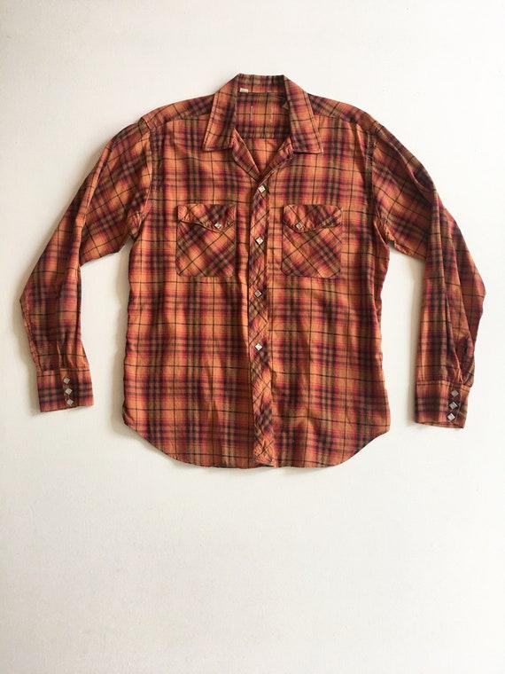 40s Men's Cotton Plaid Pearl Snap Western Shirt M