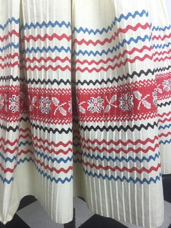 1950s Pleated Cotton Ric Rac Print CIrcle Skirt S