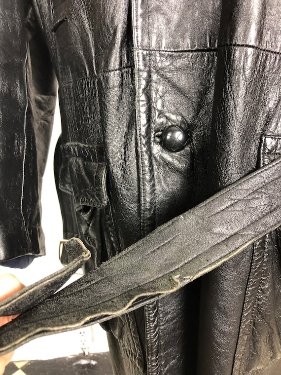 70s Black Leather Belted Trench Coat XL - image 10