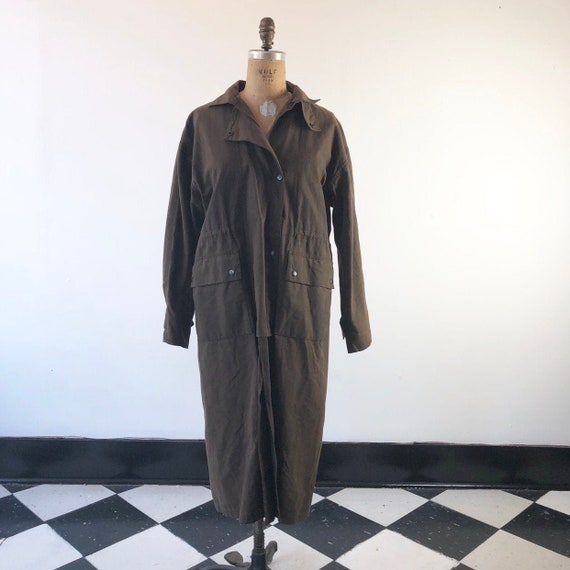 1990's Dark Green Waxed Canvas Duster Coat L