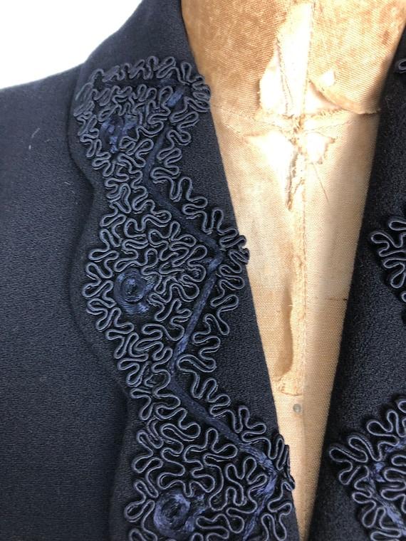 1940's Wool Bolero Jacket W/ Applique M - image 2