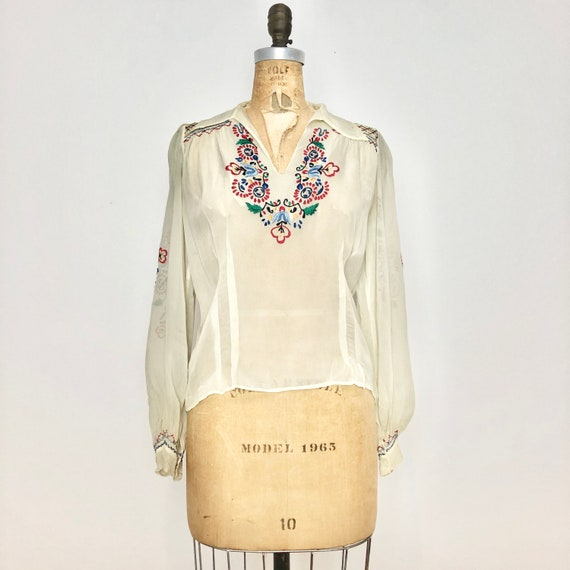 1940s Embroidered Chiffon Peasant Blouse S