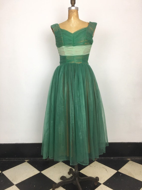 1950s Green Ruched Sheer Nylon Party Dress S
