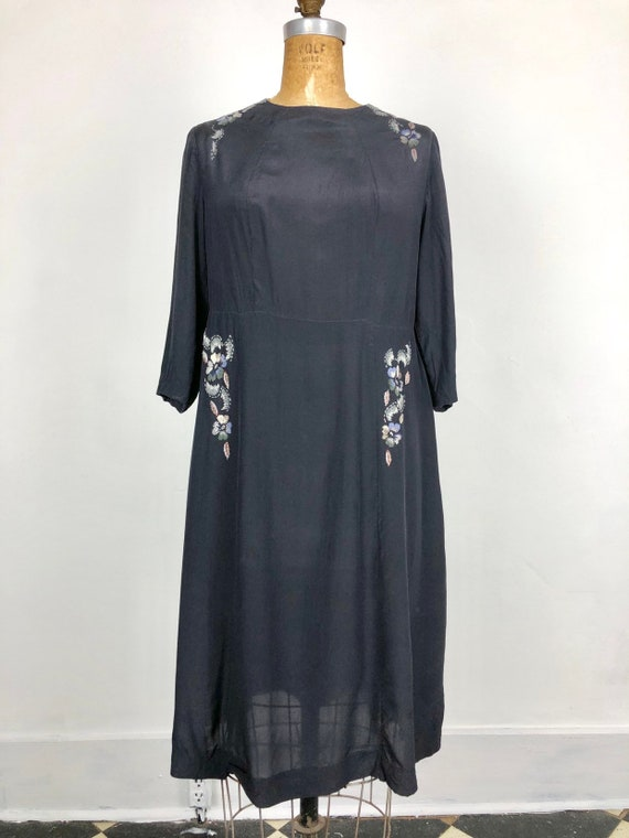 1930s Navy Silk Floral Embroidered Peasant Dress S - image 2