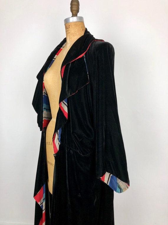 1920s Black Silk Velvet Striped SIlk Duster Coat