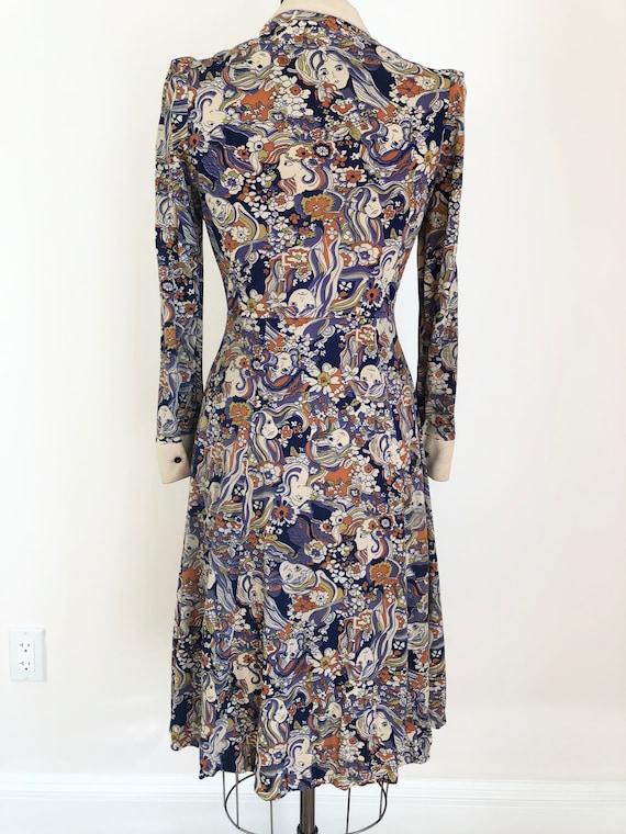 1960's Psychedelic Novelty Girl Print Dress S - image 7