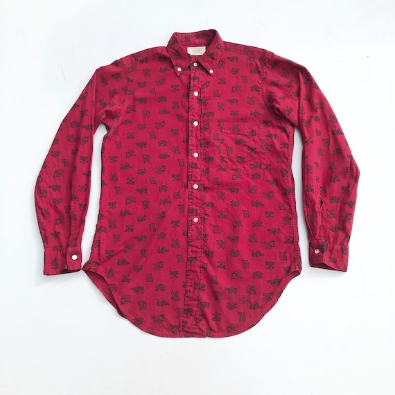 1950s Arrow Novelty Collegiate Print Red Shirt S