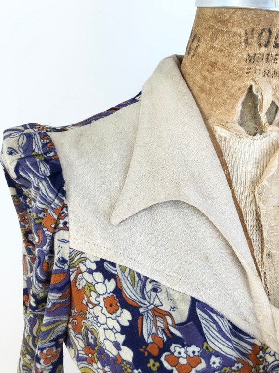 1960's Psychedelic Novelty Girl Print Dress S - image 5