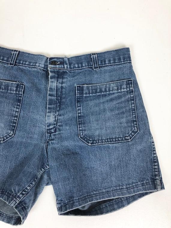 """1970s Naval Dungaree Denim Sailor Shorts 30"""" Waist - image 3"""