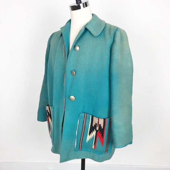 50s Blue Chimayo Jacket W/ Concho Buttons M