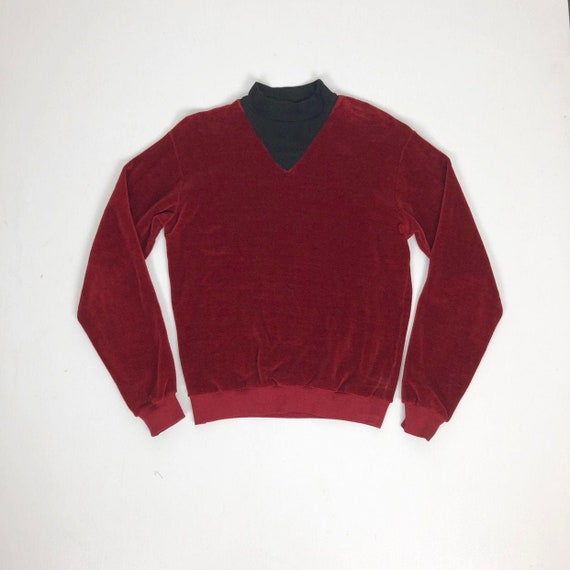RARE 1960s Red Velour Mock Turtleneck Sweatshirt M