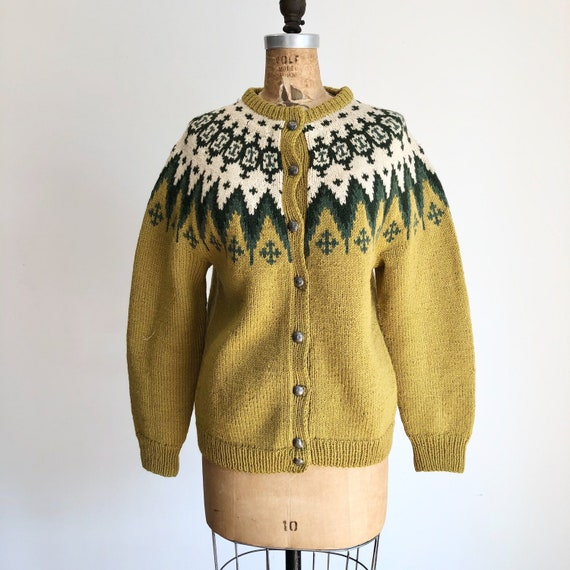 1960s Norwegian Fair Isle Wool Cardigan M