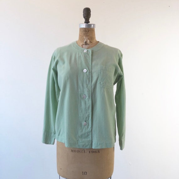 1940s Mint Green Wool Pajama Top S