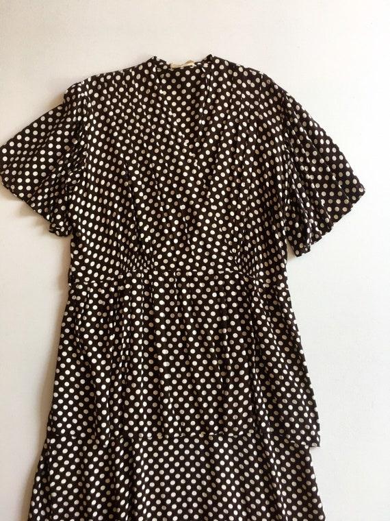 KILLER 1940s Brown Polka Dot Cold Rayon Dress M L - image 4