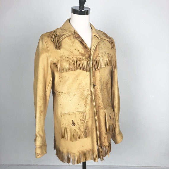 INCREDIBLE 1940s Western Fringe Leather Jacket M