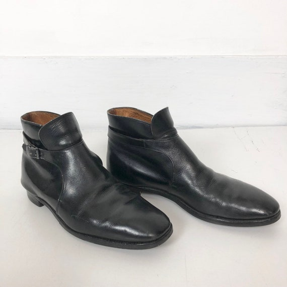 1960s Black Leather Beatle Ankle Boots