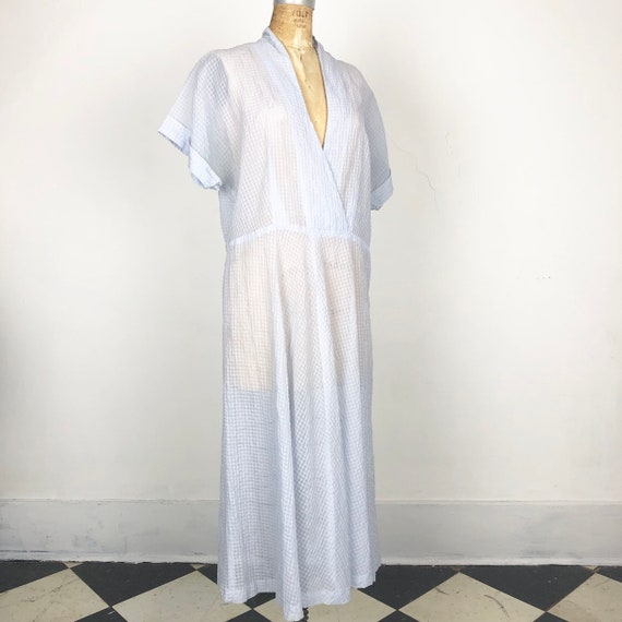 FABULOUS 1950s Sheer Blue Seersucker Dress L