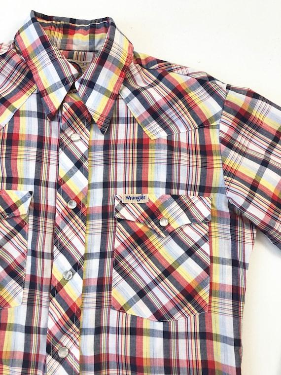 1970's Wrangler Plaid Western Shirt S - image 4