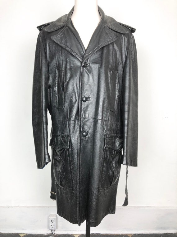70s Black Leather Belted Trench Coat XL - image 7