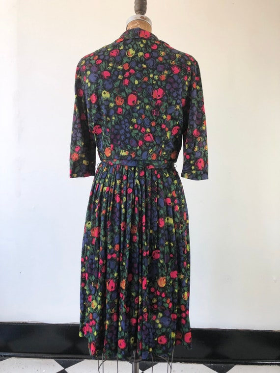 CUTE 1960s Floral Belted Two Piece Dress Set M - image 6
