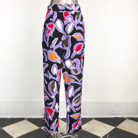 BRIGHT 1980s Abstract Print Rayon Pants S