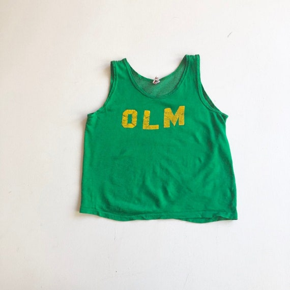 1950's Green Rayon Jersey Athletic Tank Top S