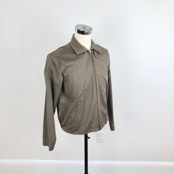 1950s Taupe Grey Cotton Zip Up Ricky Jacket M - image 1