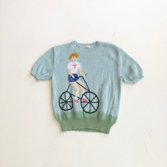 1980's Bicycle Rider Embroidered Sweater S