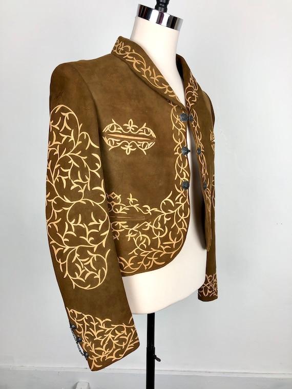 INCREDIBLE 1940s Suede Mariachi Applique Jacket S