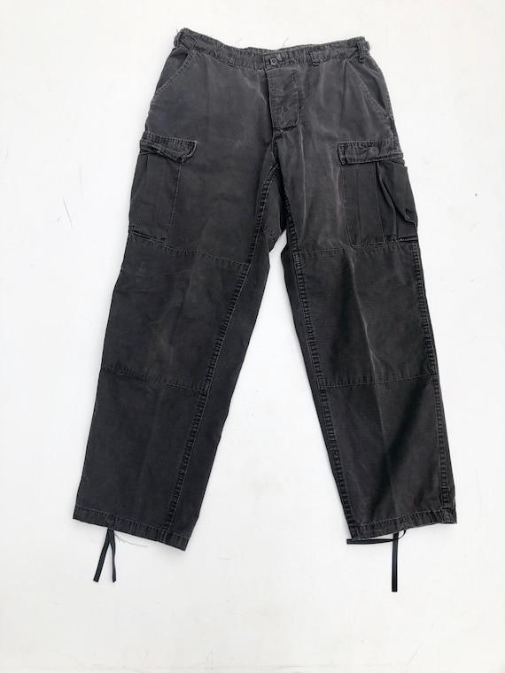 "1980s Black Cotton Military Pants 30"""