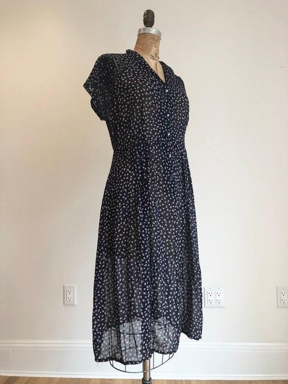 FABULOUS 1940's Sheer Navy Floral Rayon Dress M