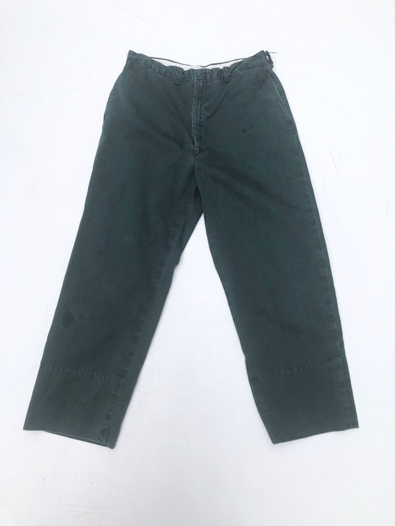 """1970s Green Cotton Work Trousers 28"""""""