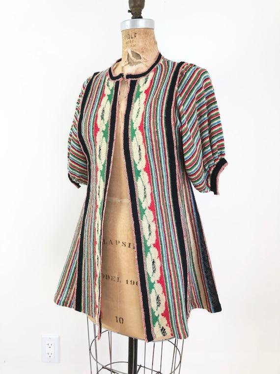 1970s Rainbow Knit Puff Sleeve Sweater Duster S