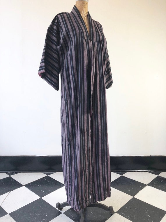 GORGEOUS 1940's Striped Indigo Cotton Kimono M