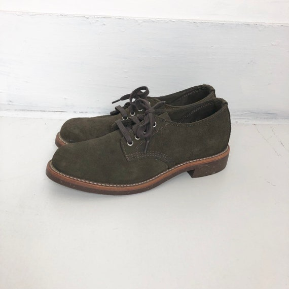 Deadstock 80's Chippewa Brown Suede Oxford Shoes 9