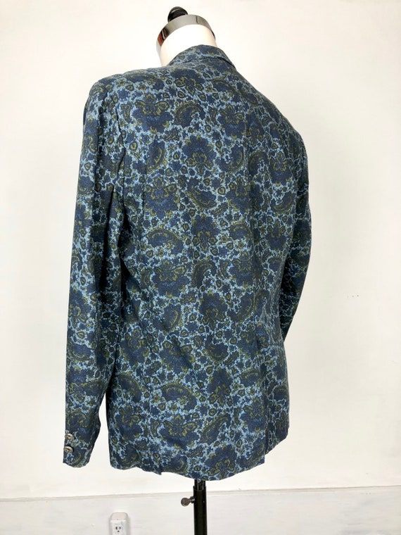 1960s Paisley Print Cotton Dinner Jacket S - image 8