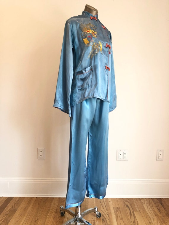 FABULOUS 1940's Blue Satin Dragon Pajama Set M